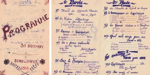 L'Echo du Sapet : programme de la St-Sylvestre 1933
